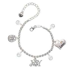 Joy with Snowflake Love & Luck Charm Bracelet with Clear