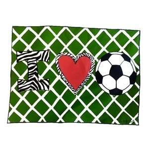 I Love Soccer Personalized Pillowcase   Pastel Colors