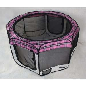 Pink Plaid Pet Dog Cat Tent Puppy Playpen Exercise Pen M