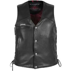 Cutlass 2.0 Mens Leather Cruiser Motorcycle Vest   Black / X Large
