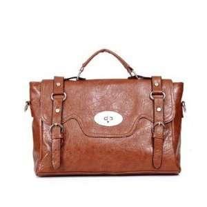 vintage Shoulder BROWN Bag PU Faux Leather Tote Messenger bag b010016