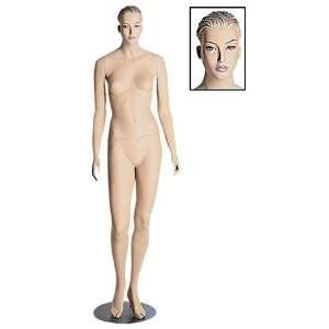 Female Mannequin With Brushed Chrome Round Base Arts