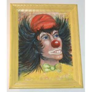 FOLK ART FRAMED CLOWN PAINTING ON 16 x 12 CANVAS