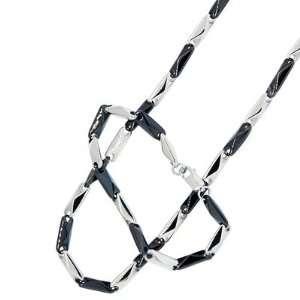 Stainless Steel Black Silver Tone Bars Bracelet Men Chain Set Jewelry