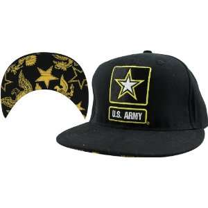 US Army Flat Bill Cap with Star Pattern Undervisor