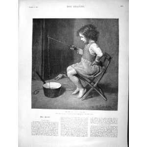 Little Girl Dibbling Chubb Fishing Portrait Millet Home & Kitchen