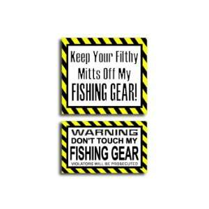 Hands Mitts Off FISHING   Funny Decal Sticker Set