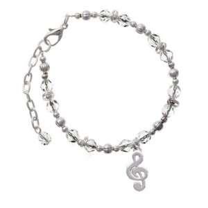 Music Note Clear Czech Glass Beaded Charm Bracelet [Jewelry] Jewelry
