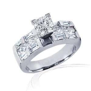 2.35 Ct Princess Cut Diamond Engagement Ring Channel Set