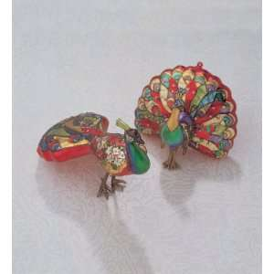 7 Colorful Peacock Painted Glass Christmas Ornament