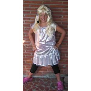 Girls Plus Size Pop Star Diva Costume with Wig and Microphone Headset