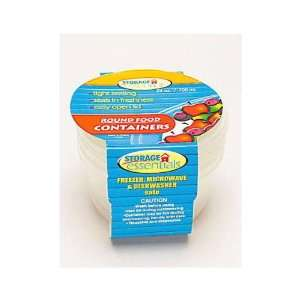 24 Packs of 3 Round Plastic Food Containers 24oz
