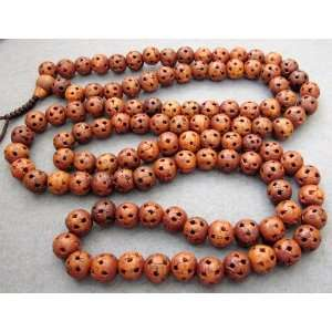 Wood Lu Lu Tong Beads Buddhist Prayer Mala Necklace