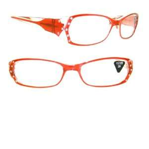Red Gradient Crystal Rhinestone Reading Glasses +2.00