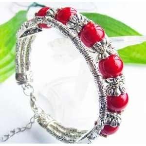 Fashion Jewelry ~ Red Coral Beads Bracelet Silvertone Bracelet