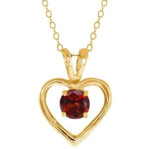00 Ct Round Red Garnet Gold Plated Sterling Silver Pendant Jewelry