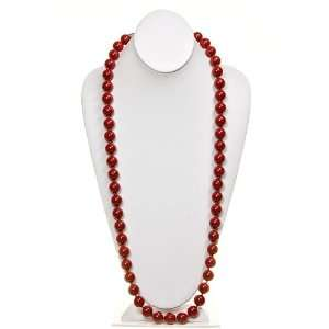 Fashion Jewelry ~ Red Glass Pearl Necklace 54 Inch Length