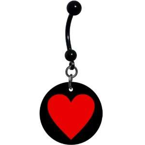 Black Red Heart Belly Ring Jewelry