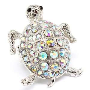 Turtle Sea Creature sparkling crystals Cocktail ring
