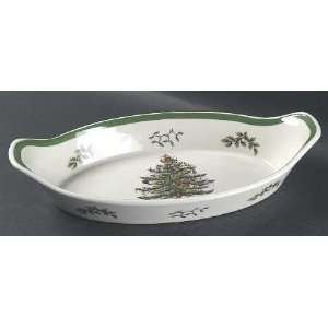 Spode Christmas Tree Green Trim Oval Handled Sole Dish, Fine China