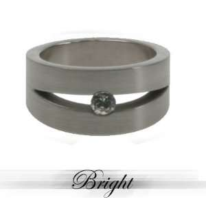 Stainless Steel laser cut ring with Cubic Zirconia Stone. Matte polish
