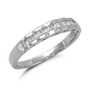Sterling Silver Cubic Zirconia Wedding Ring Band Sizes 5