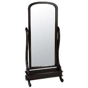 Floor Cheval Mirror with Storage Drawers in Dark Cherry Finish