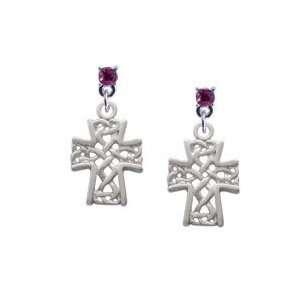 Criss Cross Patterned Cross Hot Pink Swarovski Post Charm