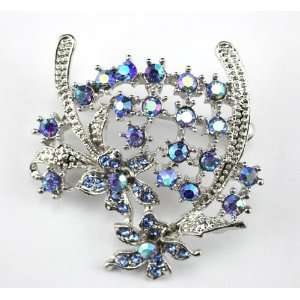 Blue Swarovski Crystal Floral Brooch Pin
