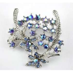 Blue Swarovski Crystal Floral Brooch Pin