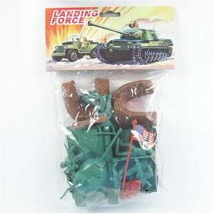 Plastic Green Army Men Soldier 23 piece Playset with M38 Tank, MB Jeep