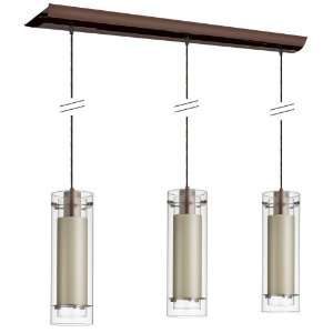 Light Pendant Clear Glass with Fabric Insert, Oil Brushed Bronze Tan