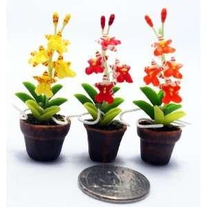3 Orchid Plant Flower Dollhouse Miniature ,Home Decoration