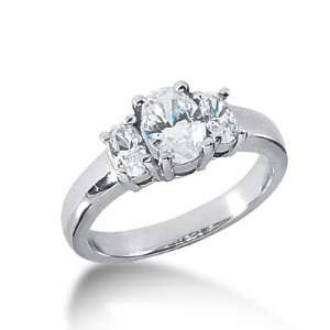 1.25 Ct Diamond Engagement Ring Oval Prong Three Stone 14k