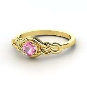 Knot Ring, Round Pink Tourmaline 14K Yellow Gold Ring Jewelry