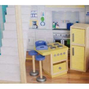 Play Wonder Dollhouse Wood Kitchen Accessory 5 Piece Set