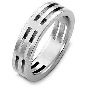 Style 14 Karat White Gold Unique Wedding Band Ring   6.25 Jewelry