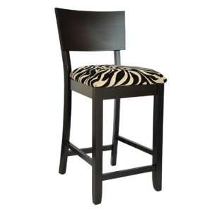 Bent Back Counter Stool with Zebra Pattern Fabric