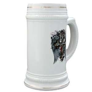 Stein (Glass Drink Mug Cup) Cross Angel Wings