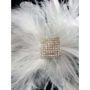 White Feather with Rhinestone Hair Clip