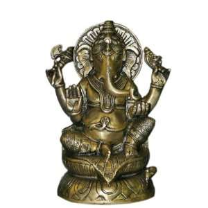 Ganesha Sculpture Elephant God Ganesh Brass Sitting Religious Statues