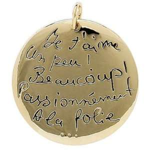 Gold Plated Love Amour   Je taime   Medal Medallion Pendant Jewelry