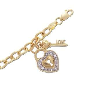 10k Yellow Gold Diamond Heart Shaped Lock and Key Bracelet