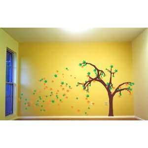 Huge Autumn Tree Decal Sticker Wall Mural Blowing in the Wind Leaves