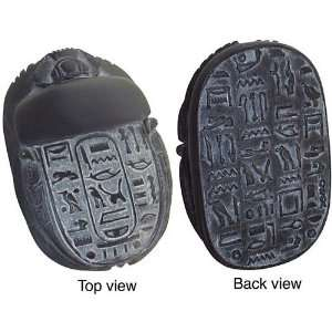 Egyptian Scarab with Hieroglyphs, Black Finish Everything