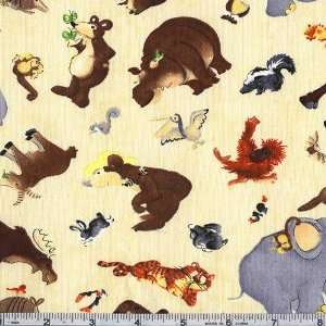 45 Wide Rainy Days Tossed Animals Ivory Fabric By The
