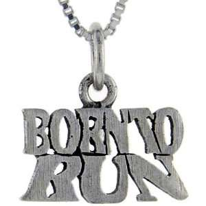 925 Sterling Silver Born to Run Talking Pendant (w/ 18 Silver Chain