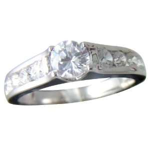 18K White Gold Plated brilliant CZ Wedding Ring, Size 5 Jewelry