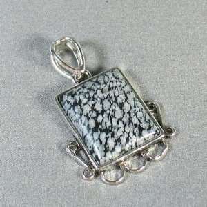 Obsidian Silver Plated pendant   Ladies Lovely Black And Gray Stone