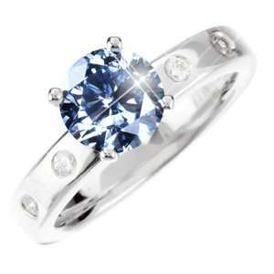 14K White Gold Ring with Fancy Blue Diamond 1/2 carat Brilliant cut